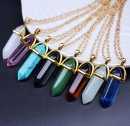 Natural Quartz Crystal Pendant Necklace
