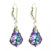 Vitrial Light Purple Swarovski Elements Crystal Sterling Silver Leverback Dangle Earrings